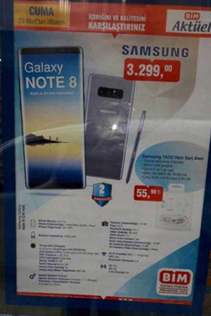 Bim Samsung Galaxy Note 8 Ne zaman, Hangi Mağazalarda Satıcak?