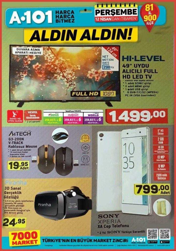 A101 12 Nisan 2018 Aktüel Ürünler Kataloğu Sony Xperia Cep Telefonu Kampanyası