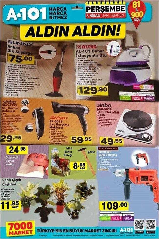 """A101 5 Nisan - 12 Nisan Aktüel Ürünler Kataloğu """"Aldın Aldın"""" Kampanyası ile Gelecek Olan İndirimli Ürünler"""