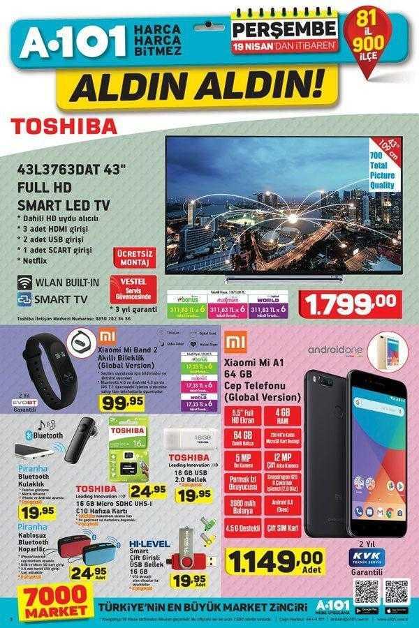 A101 19 Nisan – 25 Nisan 2018 Aktüel Ürünler Kataloğu Xiaomi Mi A1 Cep Telefonu ve Xioami Akıllı Bileklik Kampanyası