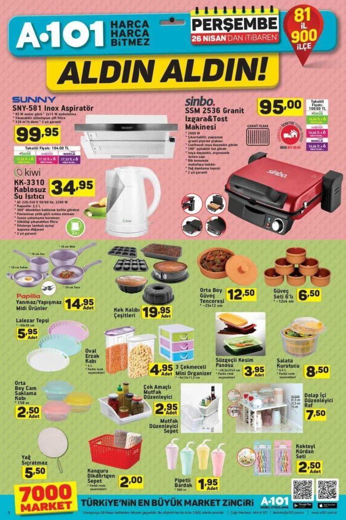 A101 26 Nisan - 02 Mayıs 2018 Aktüel Ürünler Kataloğu İndirim Kampanyası Yayında