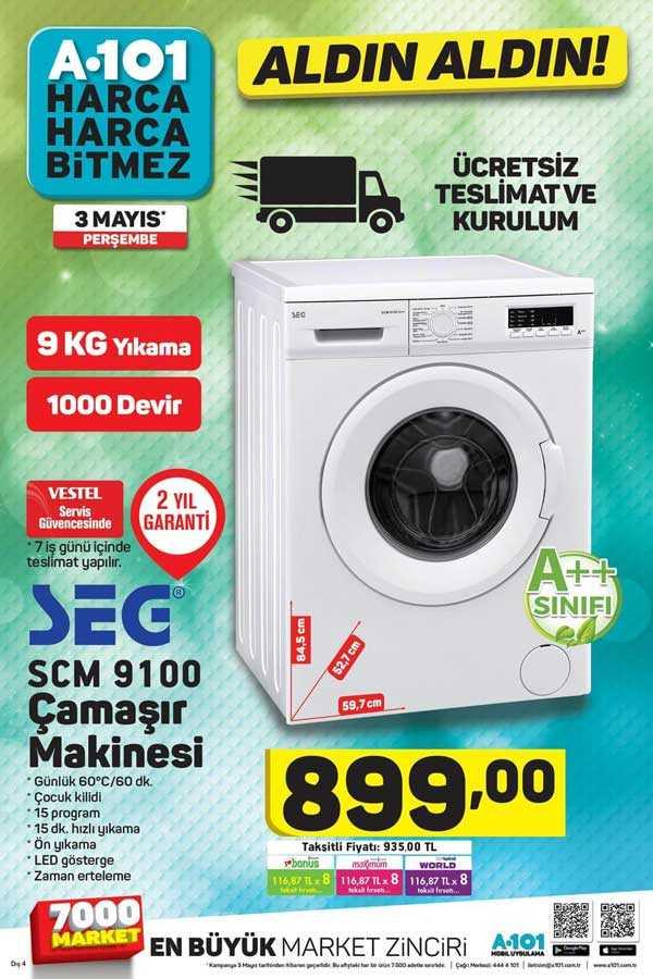 A101 3 Mayıs 2018 Çamaşır Makinesi ve Samsung Kavisli LED Televizyon Kampanyası