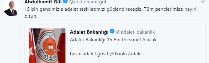 Adalet Bakanı Sosyal Medyadan Duyurdu, Adalet Bakanlığı 15 Bin Personel Alımı Yapacak
