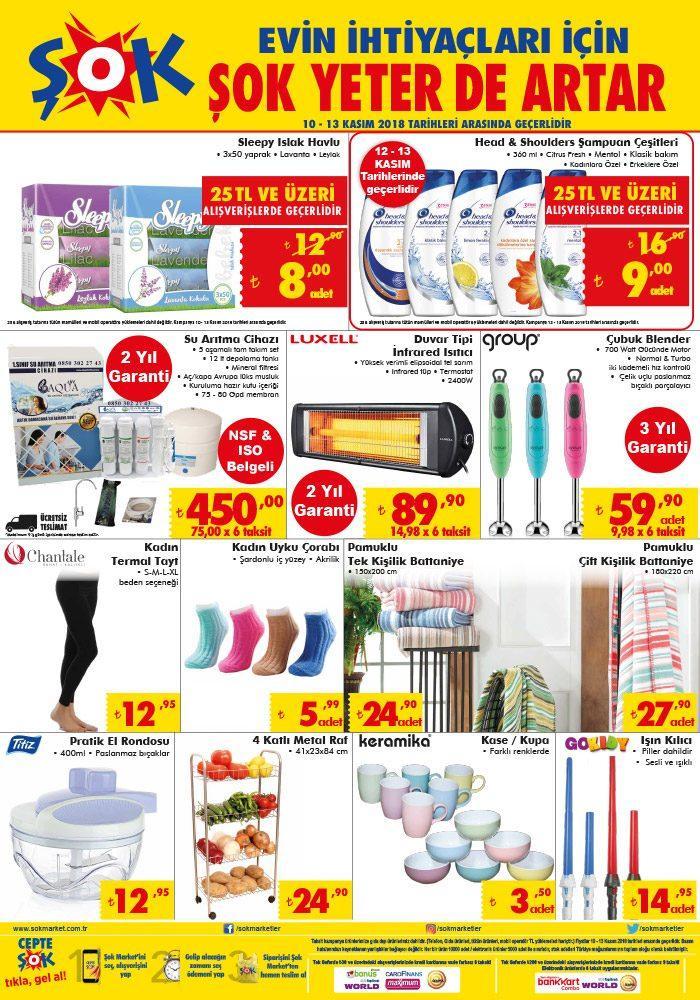 ŞOK Aktüel 10 - 13 Kasım 2018 Kataloğu Yayınlandı - Şok Market Hafta Sonu Aktüel Ürünleri Neler?