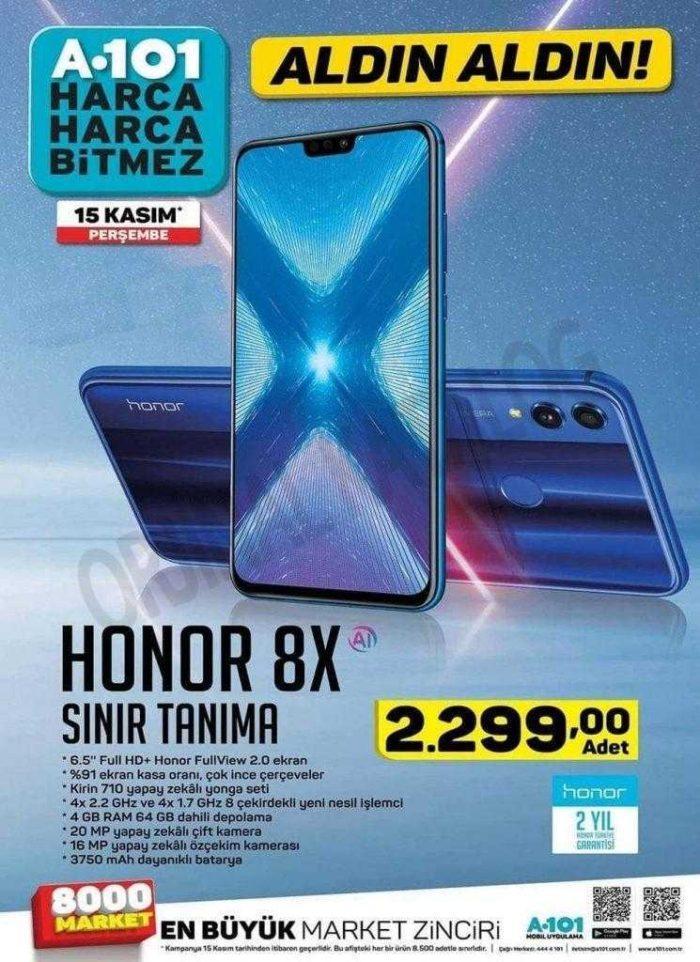 A101 Bu Hafta (15 Kasım 2018 Aktüel) Uygun Fiyata Honor 8X Cep Telefonu Satışı Yapacak