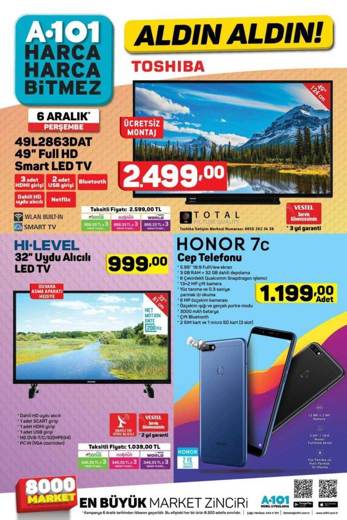 A101 Aktüel 6 Aralık 2018 Kataloğunda Muhteşem Teknoloji Kampanyası! Çifte Televizyon ve Cep Telefonu Uygun Fiyata Geliyor