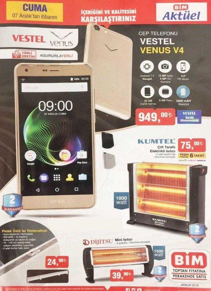BİM 7 Aralık 2018 Aktüel Ürünler Kataloğunda Uygun Fiyata Vestel Venüs Akıllı Telefon Geliyor