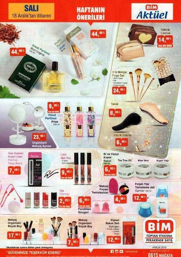 BİM 18 Aralık 2018 Aktüel Ürünler Kataloğu Haftanın Önerilerinde Kozmetik Ürünlerinde Büyük Kampanya