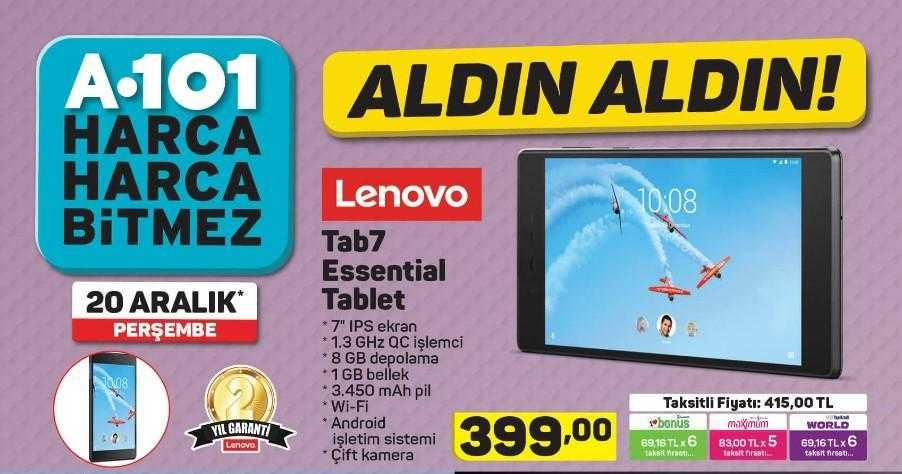 A101 Aktüel 20 Aralık 2018 Kataloğunda 399 TL'ye Lenova Tab7 Tablet Satışı Yapacak