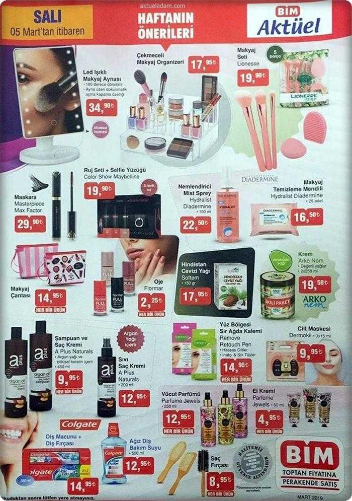 BİM 5 Mart 2019 Aktüel Ürünler Kataloğunda Kadınlar Gününe Özel Kozmetik Ürünleri Geliyor