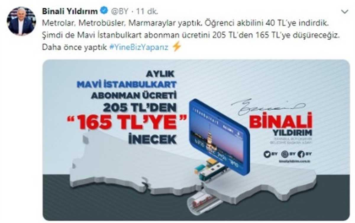Binali Yıldırım Sosyal Medya Hesabından Açıkladı Mavi İstanbulkart Abonman Ücreti Düşüyor