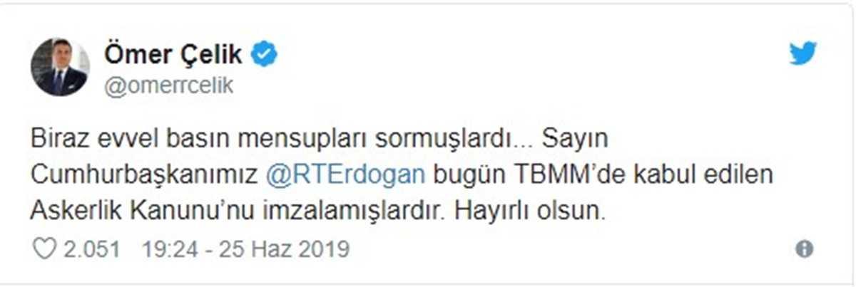 Yeni Askerlik Kanunu Cumhurbaşkanı Erdoğan Tarafından Onaylandı