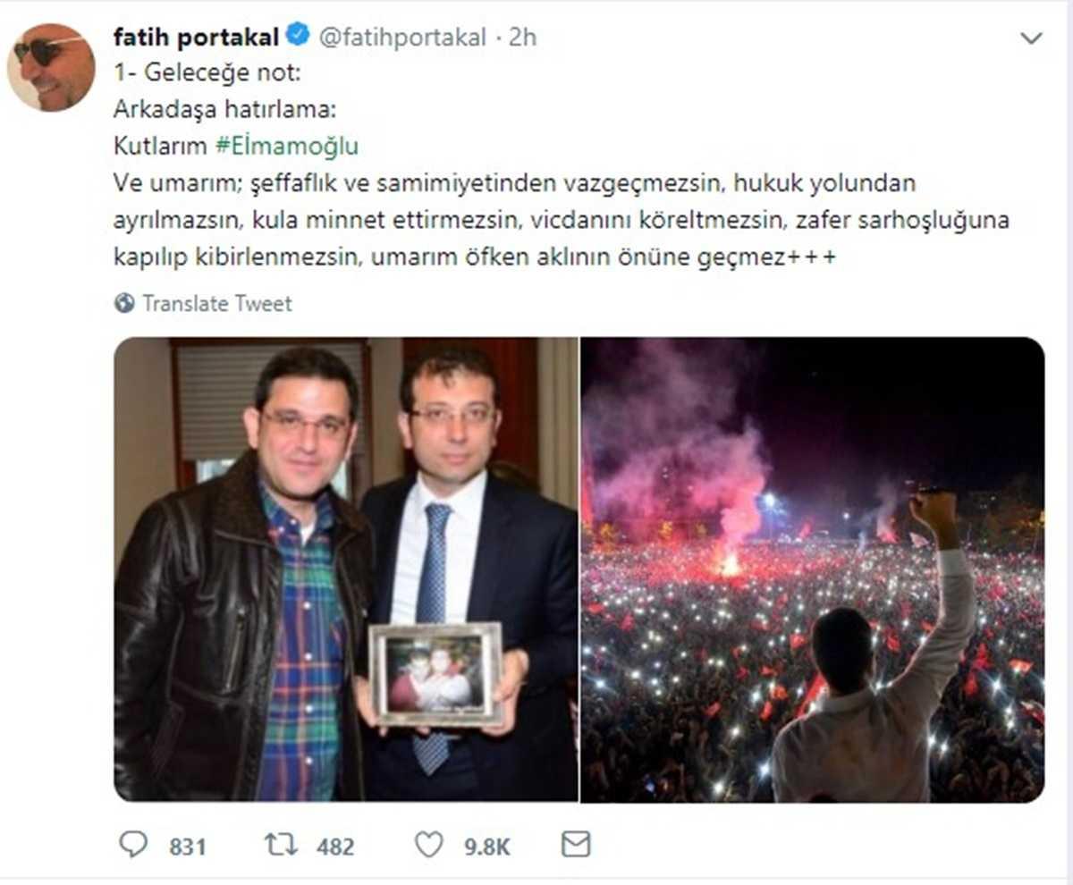 FOX TV Anchorman'i Fatih Portakal İBB Başkanı İmamoğlu'nu Uyardı: Zafer Sarhoşluğuna Kapılıp Kibirlenme