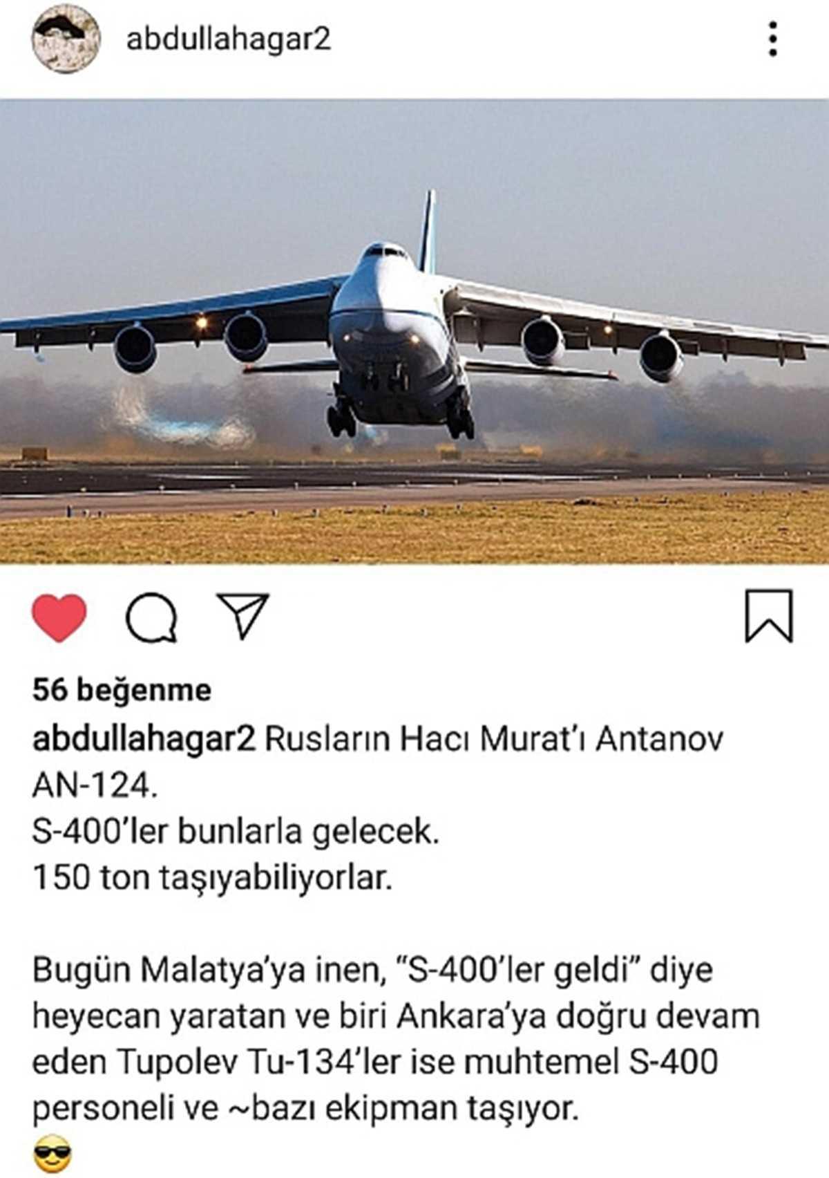 Malatya'ya İnen Gizemli Rus Uçağının S-400 Hava Savunma Sistemi ile İlgili Olduğu İddia Edildi