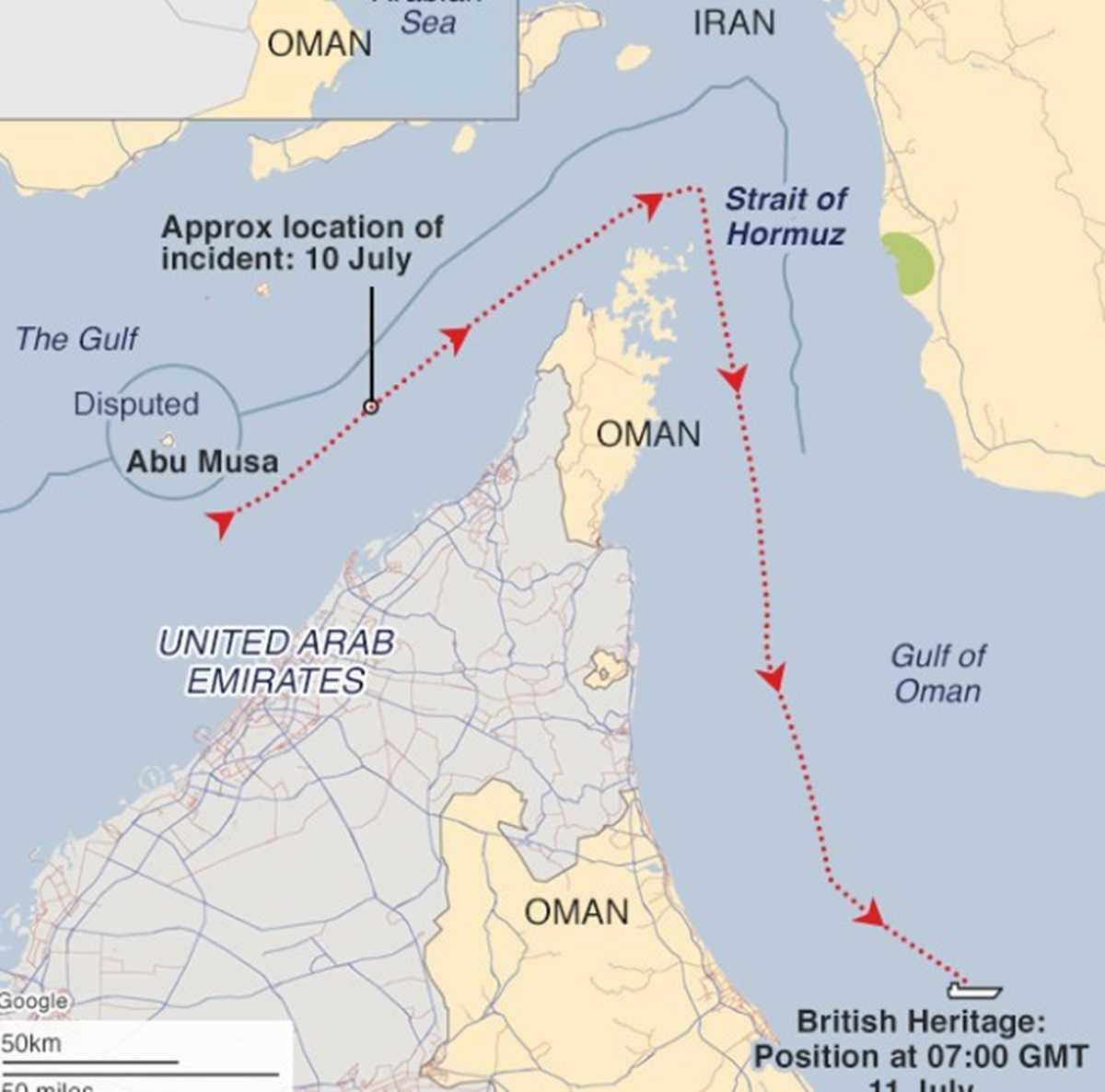 İran tekneleri Körfez yakınlarında bir İngiliz tankerini durdurmaya çalıştı
