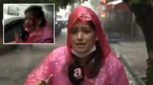 Fırtınada Canlı Yayın Yapan A Haber Muhabiri Kanlar İçinde Kaldı