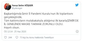 İzmir Valisi Açıkladı: Maske Takmak Artık Zorunlu