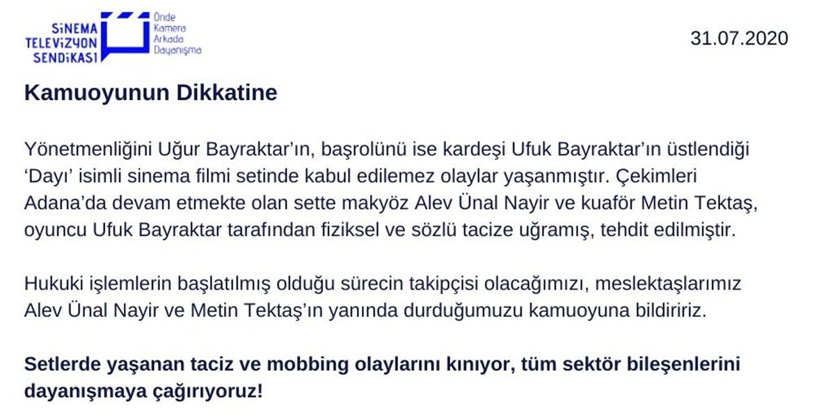 Ünlü oyuncu Ufuk Bayraktar hakkında sözlü ve fiziksel taciz iddiası